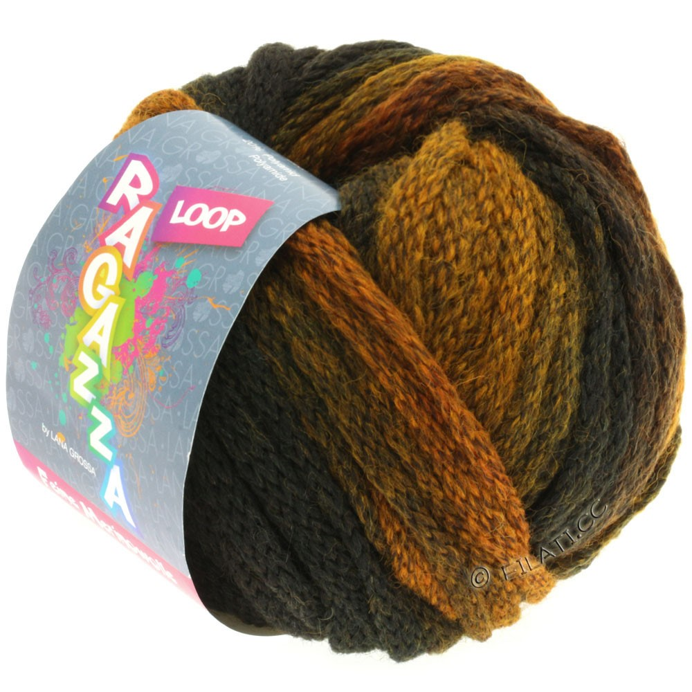 Lana Grossa LOOP (Ragazza) | 11-black brown/mustard