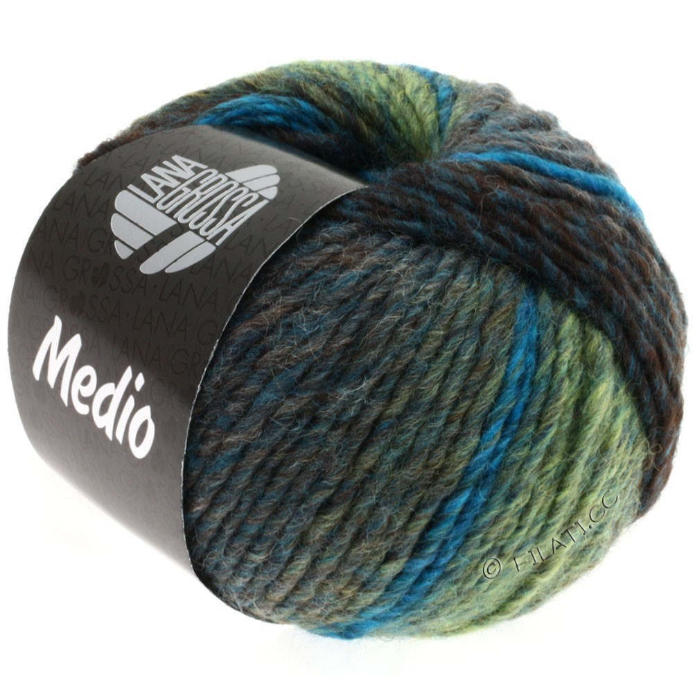 Lana Grossa MEDIO | 10-petrol blue/turquoise/pale green/gray/anthracite