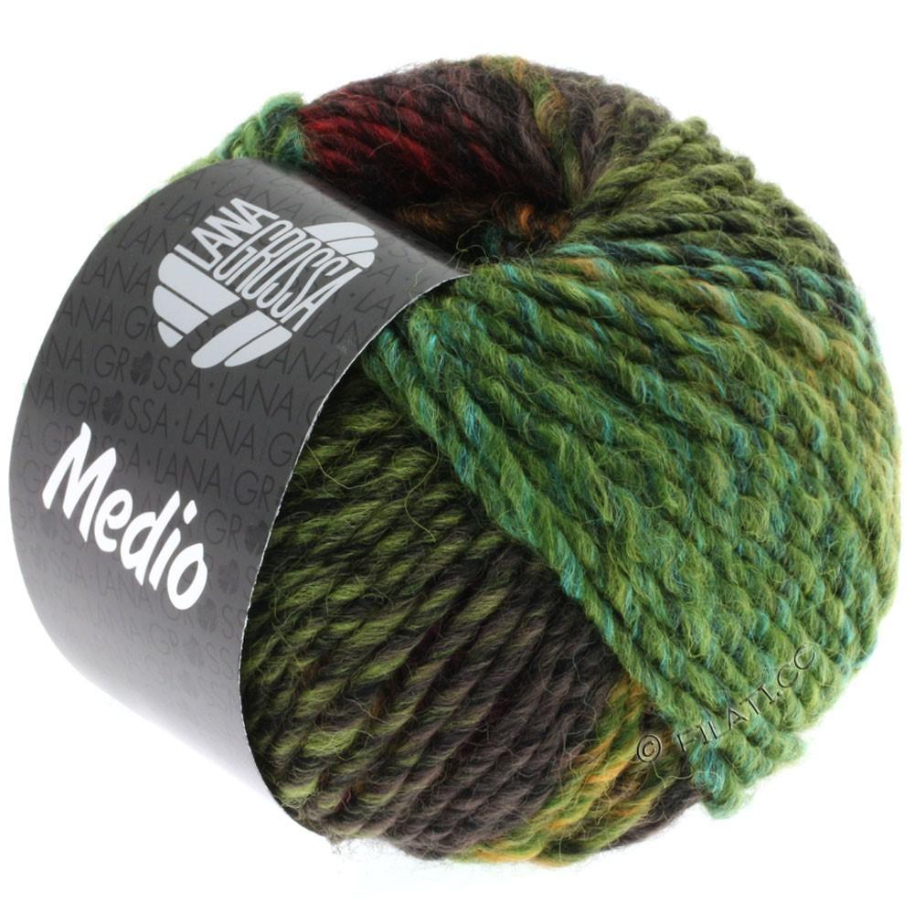 Lana Grossa MEDIO | 25-olive/linden green/mustard/turquoise/dark red