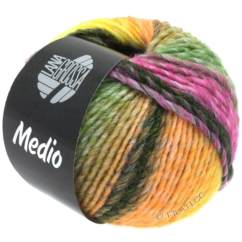 Lana Grossa MEDIO | 39-peach/yellow/raw white/taupe/beige/moss green/red violet