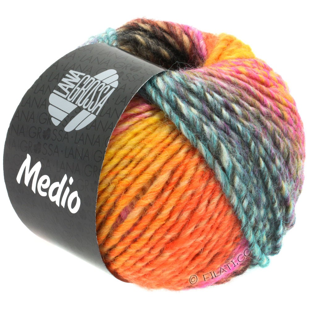 Lana Grossa MEDIO | 40-ochre yellow/tomato red/white/rose/pink/turquoise