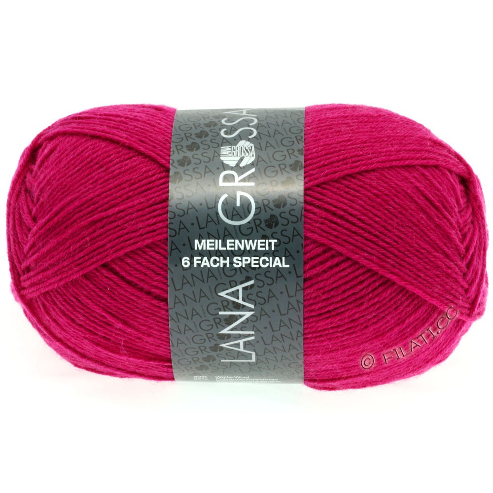 Lana Grossa MEILENWEIT 6-FACH 150g Uni/Tweed | 8968-pink