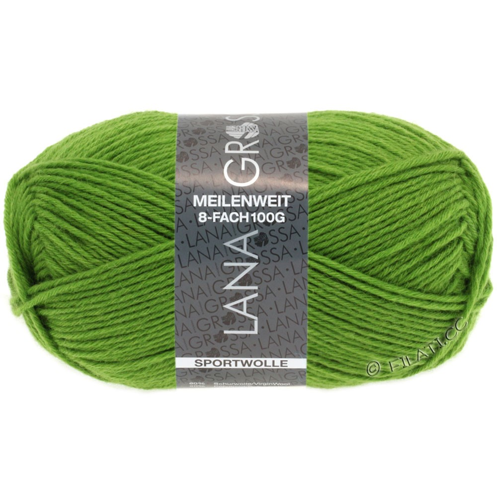 Lana Grossa MEILENWEIT 8-FACH 100g Uni | 9554-light green
