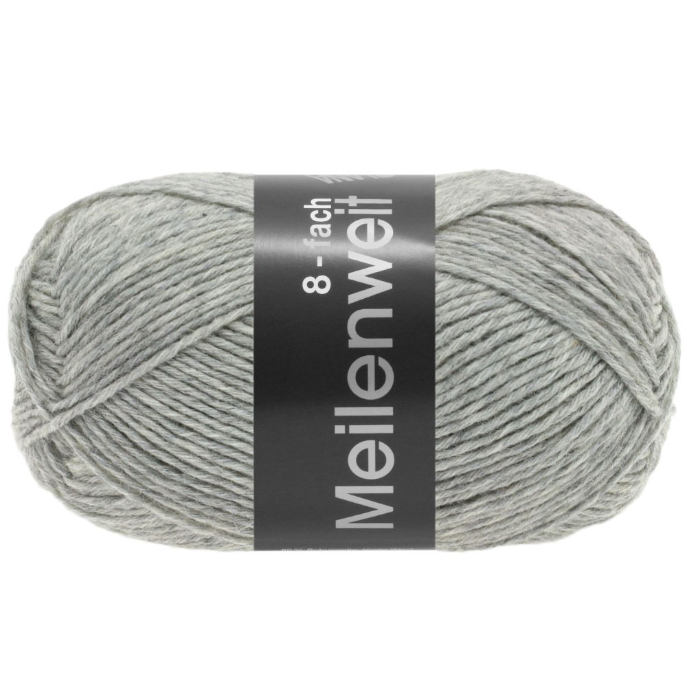 Lana Grossa MEILENWEIT 8-FACH 100g Uni | 9564-light gray mottled