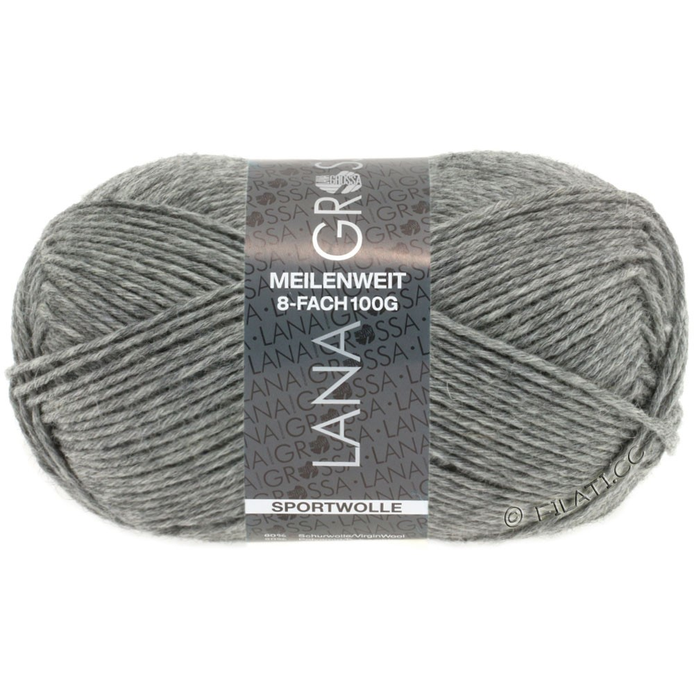 Lana Grossa MEILENWEIT 8-FACH 100g Uni | 9615-dark gray mottled
