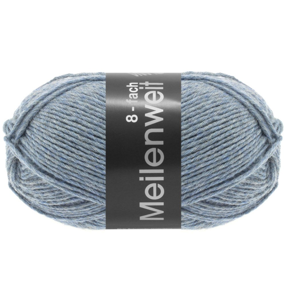 Lana Grossa MEILENWEIT 8-FACH 100g Uni | 9659-gray blue mottled