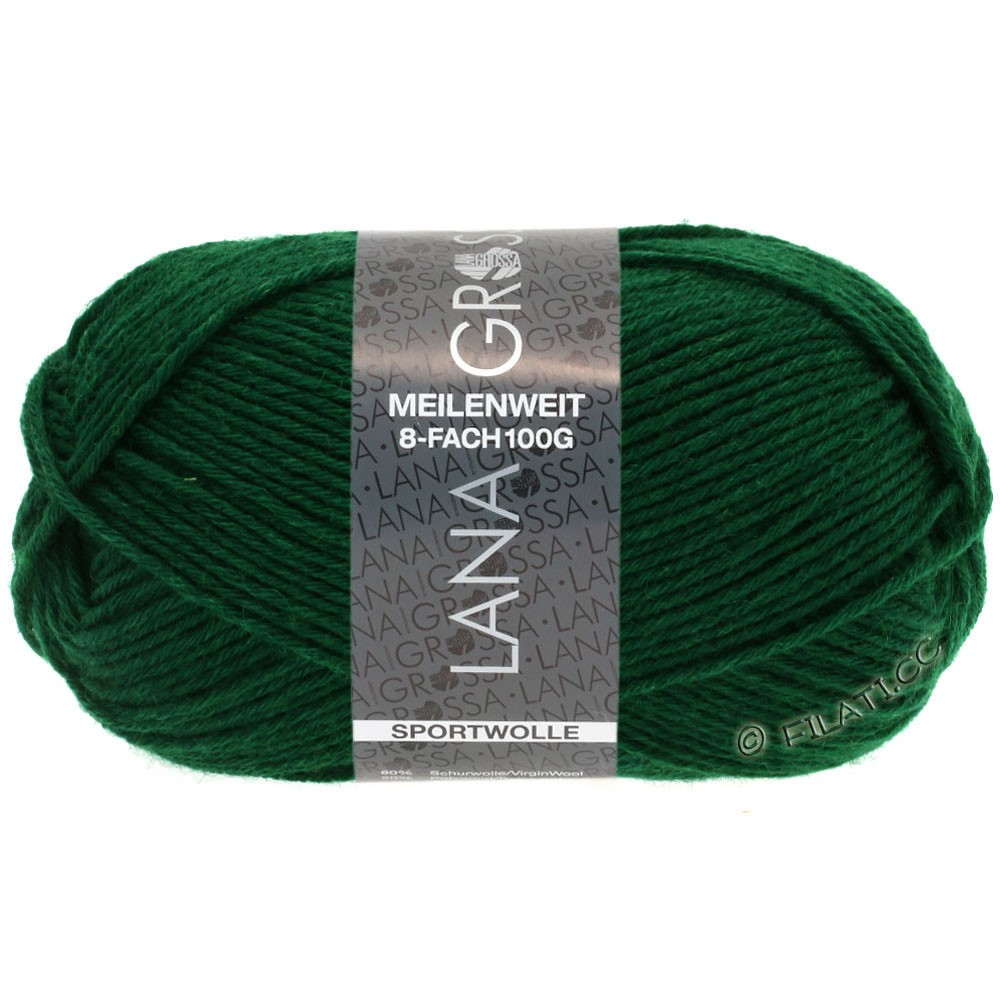 Lana Grossa MEILENWEIT 8-FACH 100g Uni | 9665-bottle green