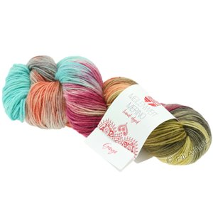 Lana Grossa MEILENWEIT 100g Merino 2 Hand-dyed | 407-turquoise/gray/red violet/terracotta/subtle yellow/mud