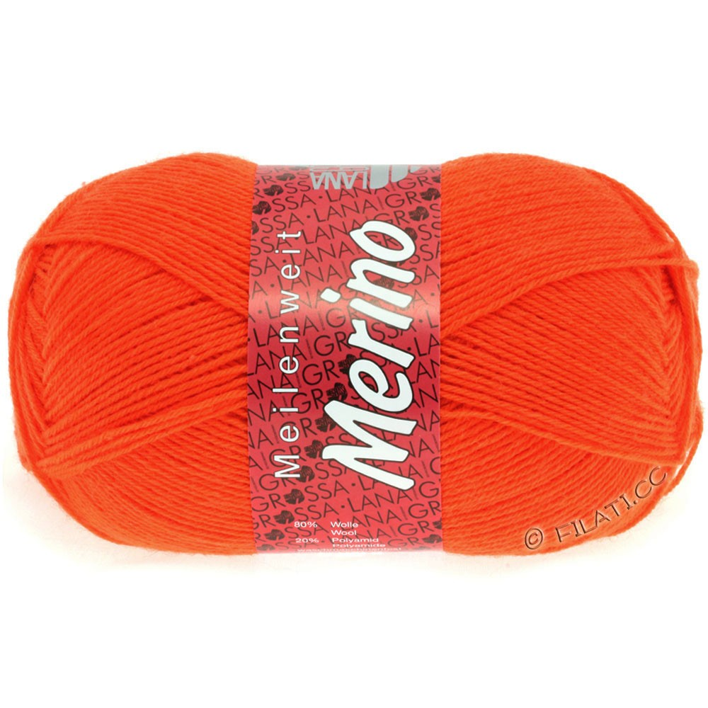 Lana Grossa MEILENWEIT 100g Merino Uni | 2036-neon orange
