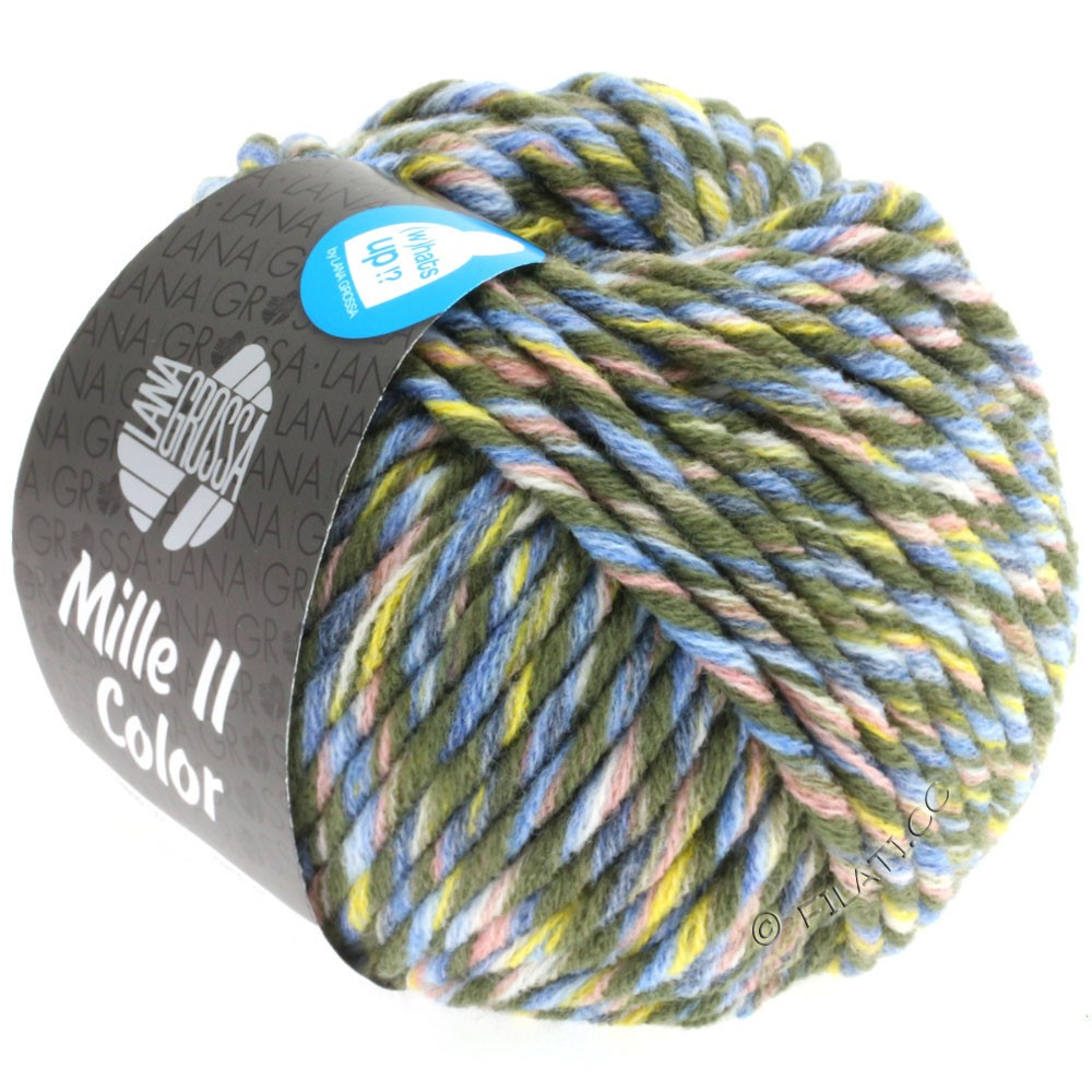 Lana Grossa MILLE II Color/Moulinè | 807-loden/yellow/rose/jeans/light blue mottled
