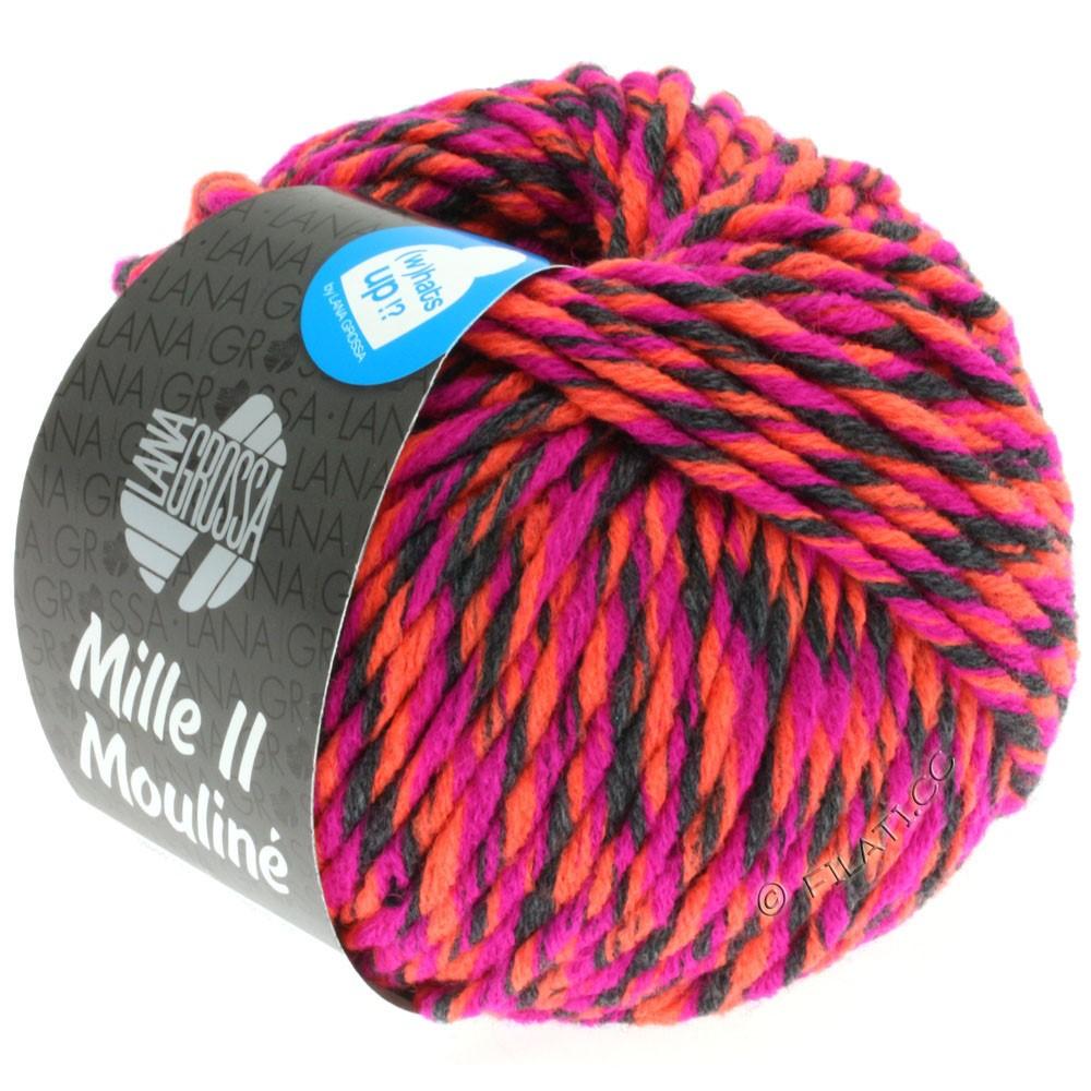 Lana Grossa MILLE II Color/Moulinè | 601-cyclamen/anthracite/neon orange