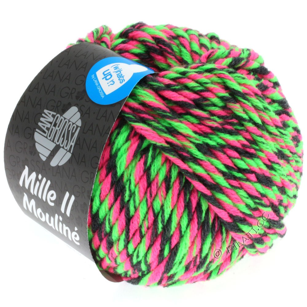 Lana Grossa MILLE II Color/Moulinè | 602-neon pink/neon green/anthracite