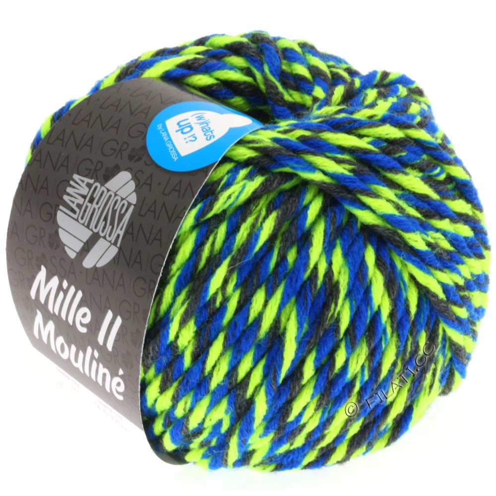 Lana Grossa MILLE II Color/Moulinè | 603-anthracite/neon yellow/blue