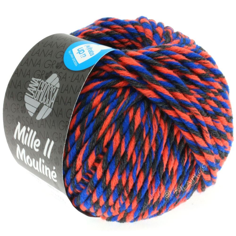 Lana Grossa MILLE II Color/Moulinè | 604-neon orange/anthracite/blue