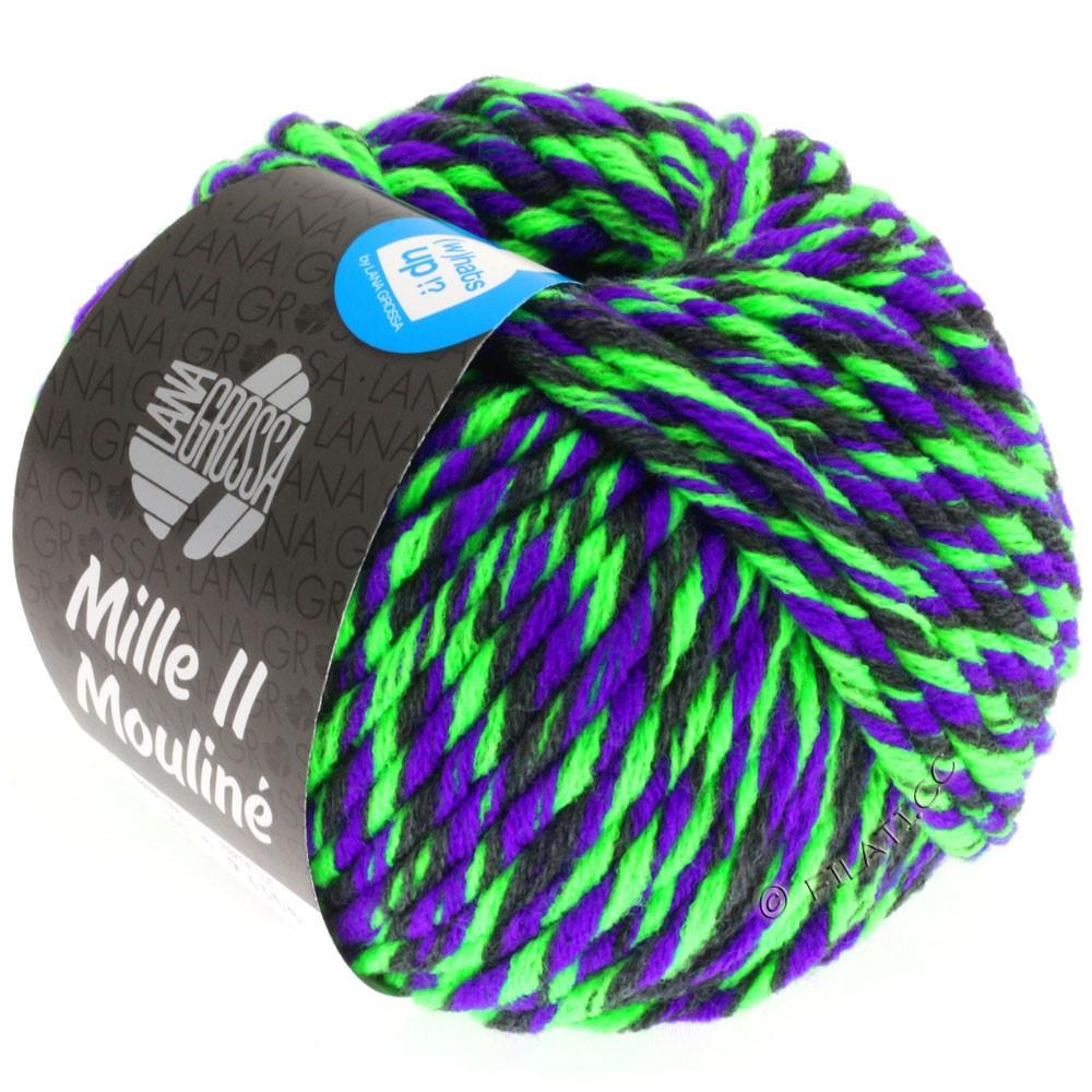 Lana Grossa MILLE II Color/Moulinè | 605-neon green/purple/anthracite