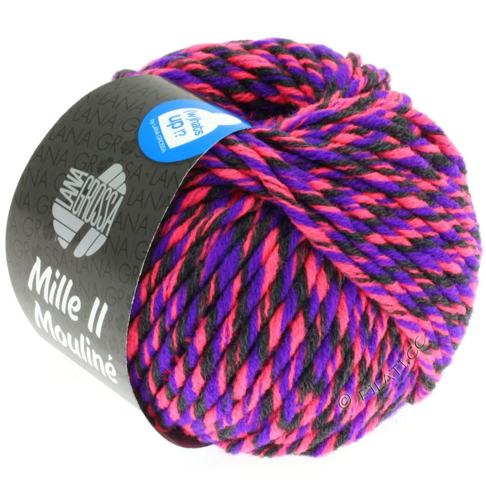 Lana Grossa MILLE II Color/Moulinè | 606-neon pink/purple/anthracite