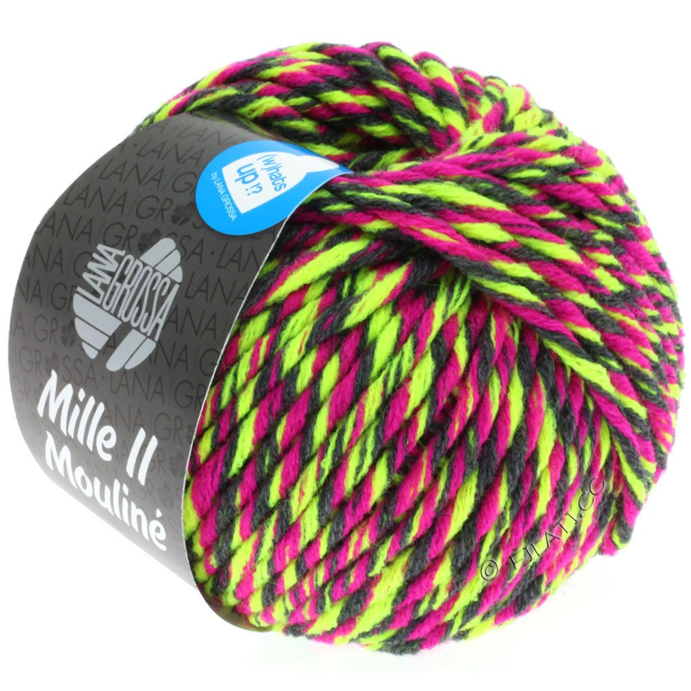Lana Grossa MILLE II Color/Moulinè | 607-neon yellow/cyclamen/anthracite