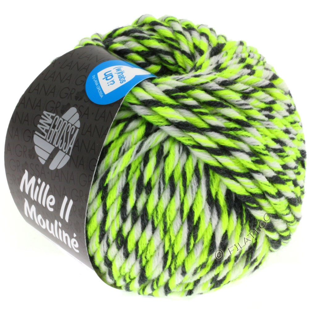 Lana Grossa MILLE II Color/Moulinè | 608-neon yellow/white/anthracite