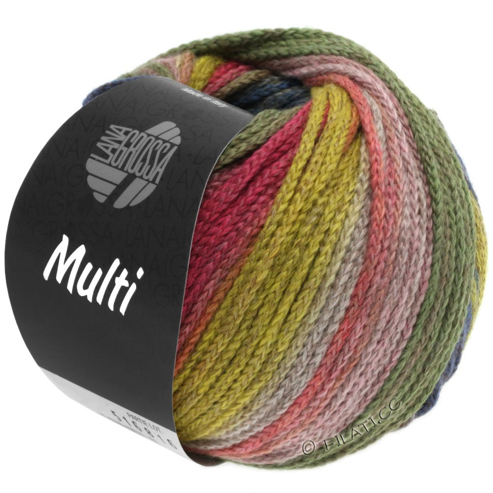 Lana Grossa MULTI | 10-yellow/light green/pink/brown/petrol/gray green