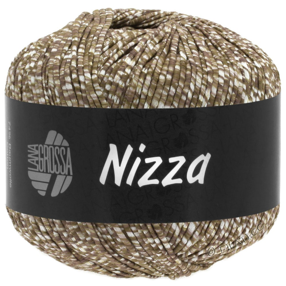 Lana Grossa NIZZA | 10-white/gray brown/golden