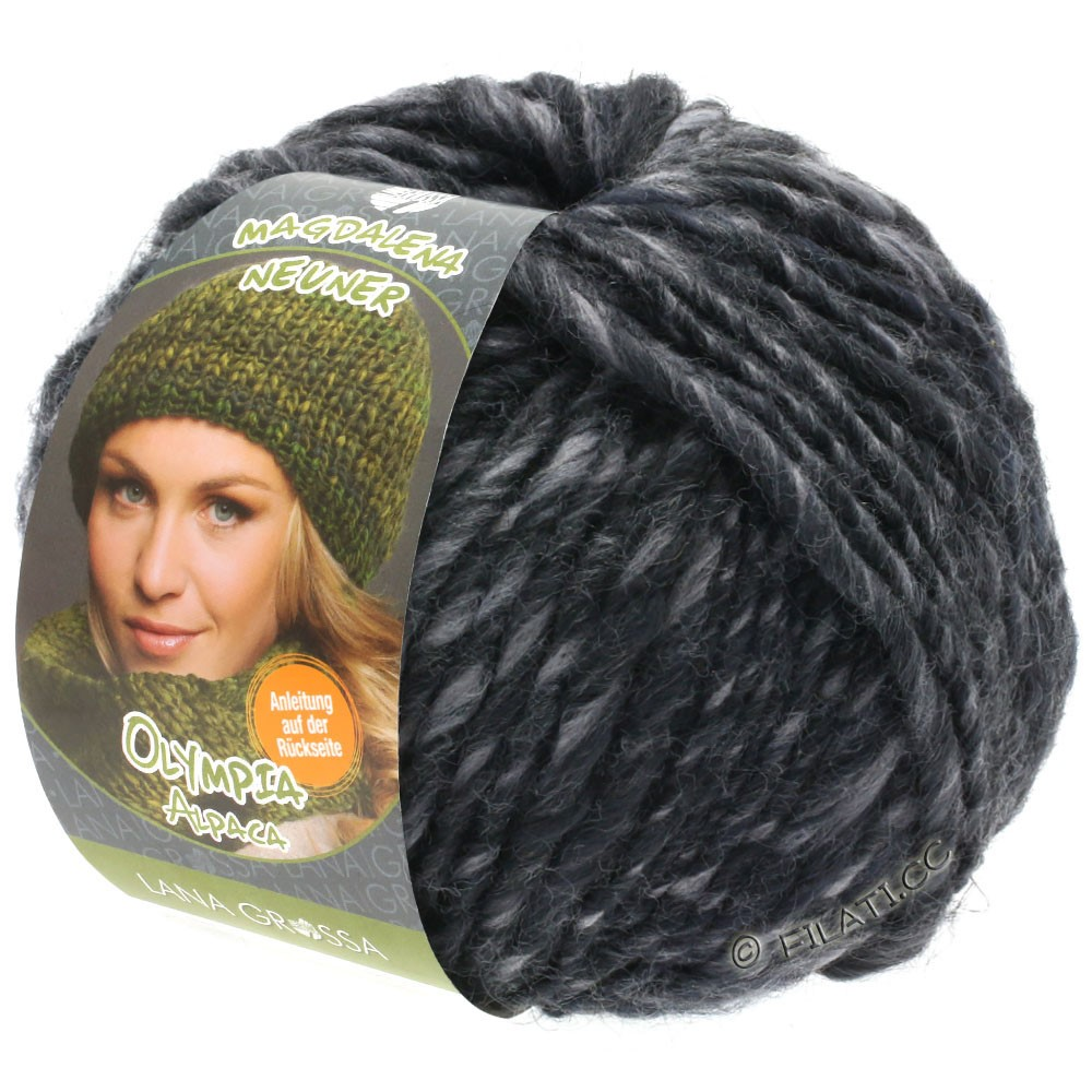Lana Grossa OLYMPIA Alpaca | 909-gray/anthracite mottled