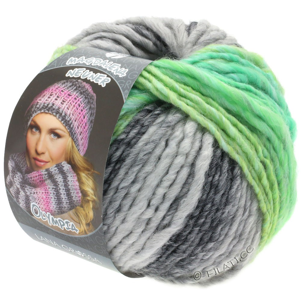 Lana Grossa OLYMPIA Grey | 803-dark gray/light gray/yellow green/jade green