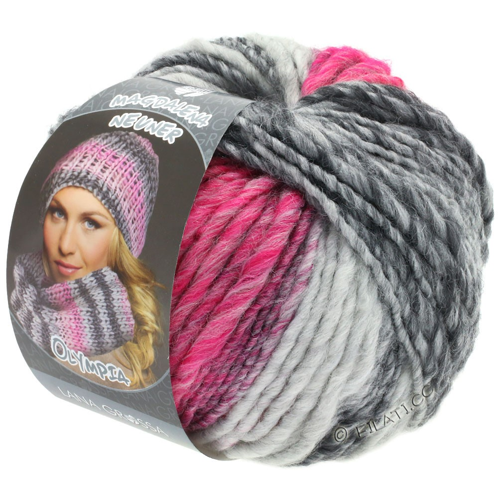 Lana Grossa OLYMPIA Grey | 805-dark gray/light gray/raspberry/wine red