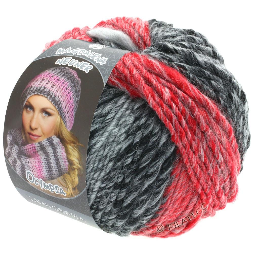 Lana Grossa OLYMPIA Grey | 807-anthracite/dark gray/light gray/red/dark red