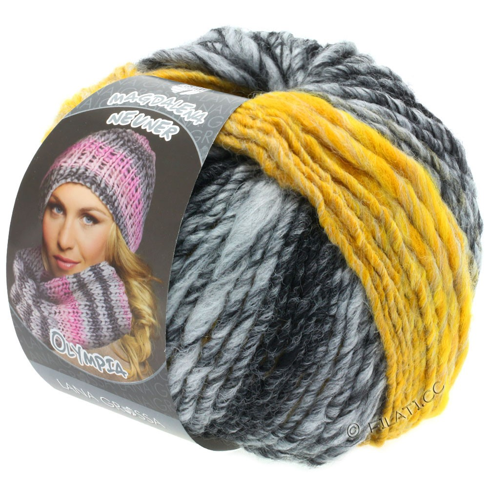 Lana Grossa OLYMPIA Grey | 810-anthracite/dark gray/light gray/yellow mottled