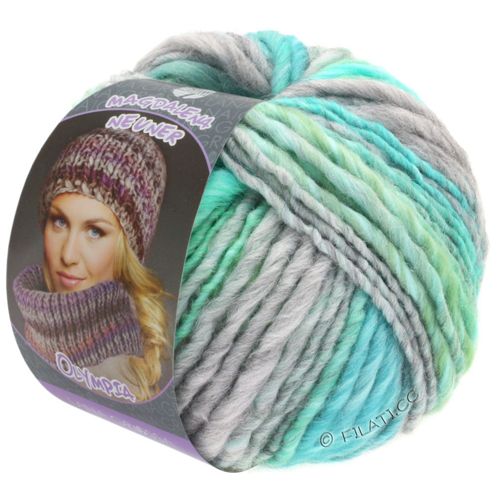 Lana Grossa OLYMPIA Pastello | 609-light gray/light green/pale blue/turquoise