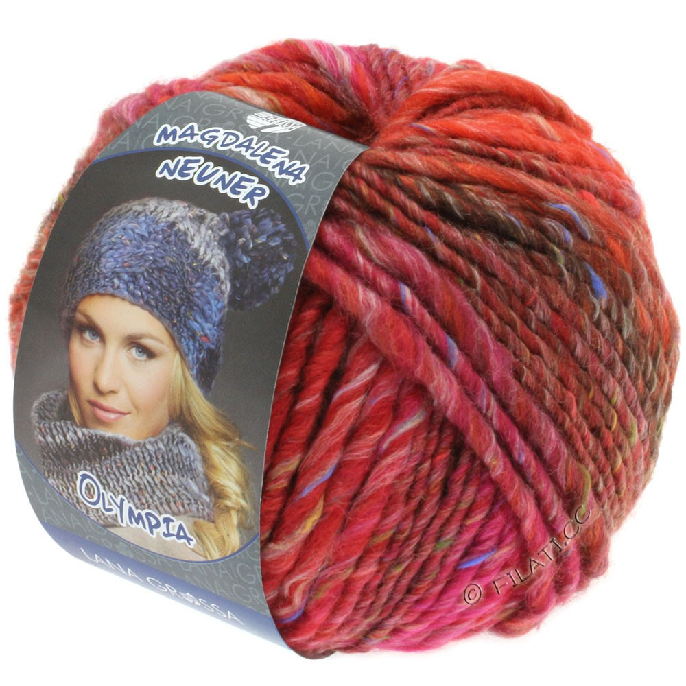 Lana Grossa OLYMPIA Tweed | 706-red/pink/wine red mottled
