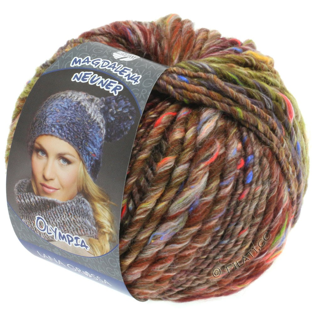 Lana Grossa OLYMPIA Tweed | 707-brown/bordeaux/blackberry mottled