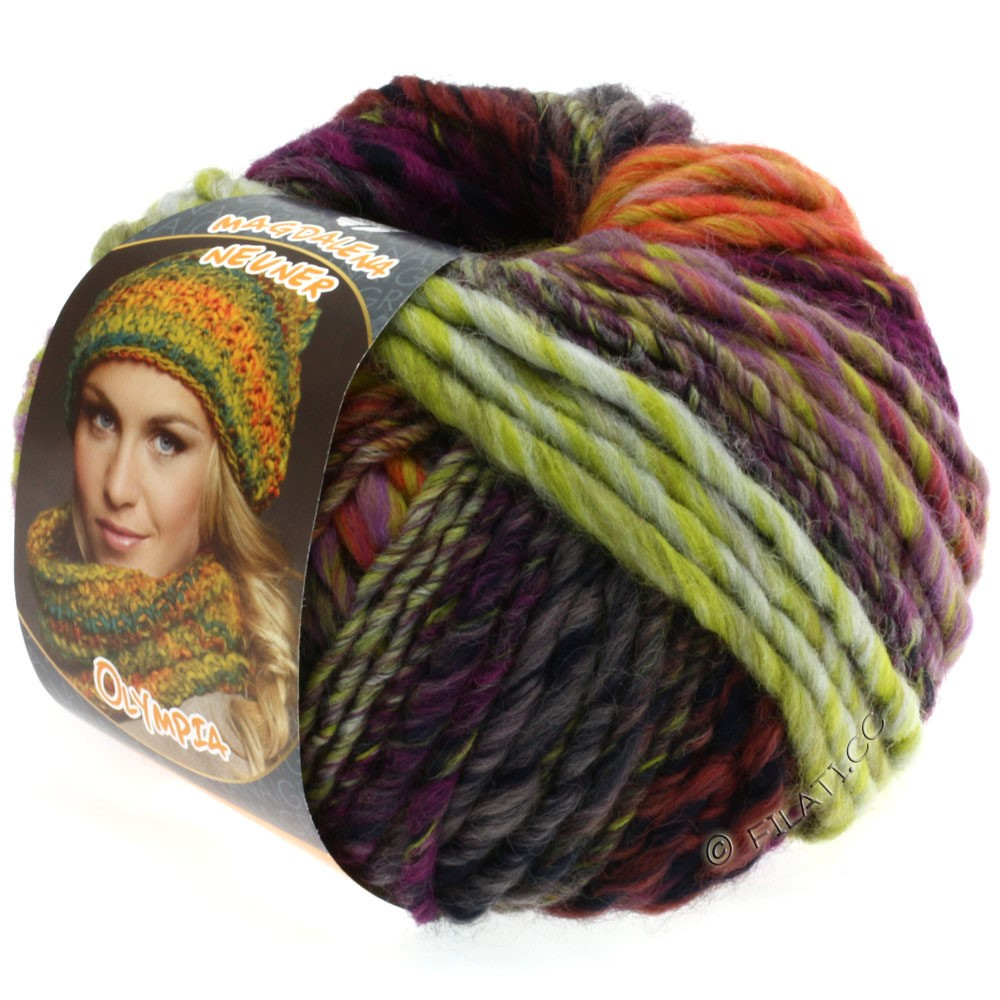 Lana Grossa OLYMPIA Classic | 024-yellow green/eggplant/lilac/subtle green/cyclamen