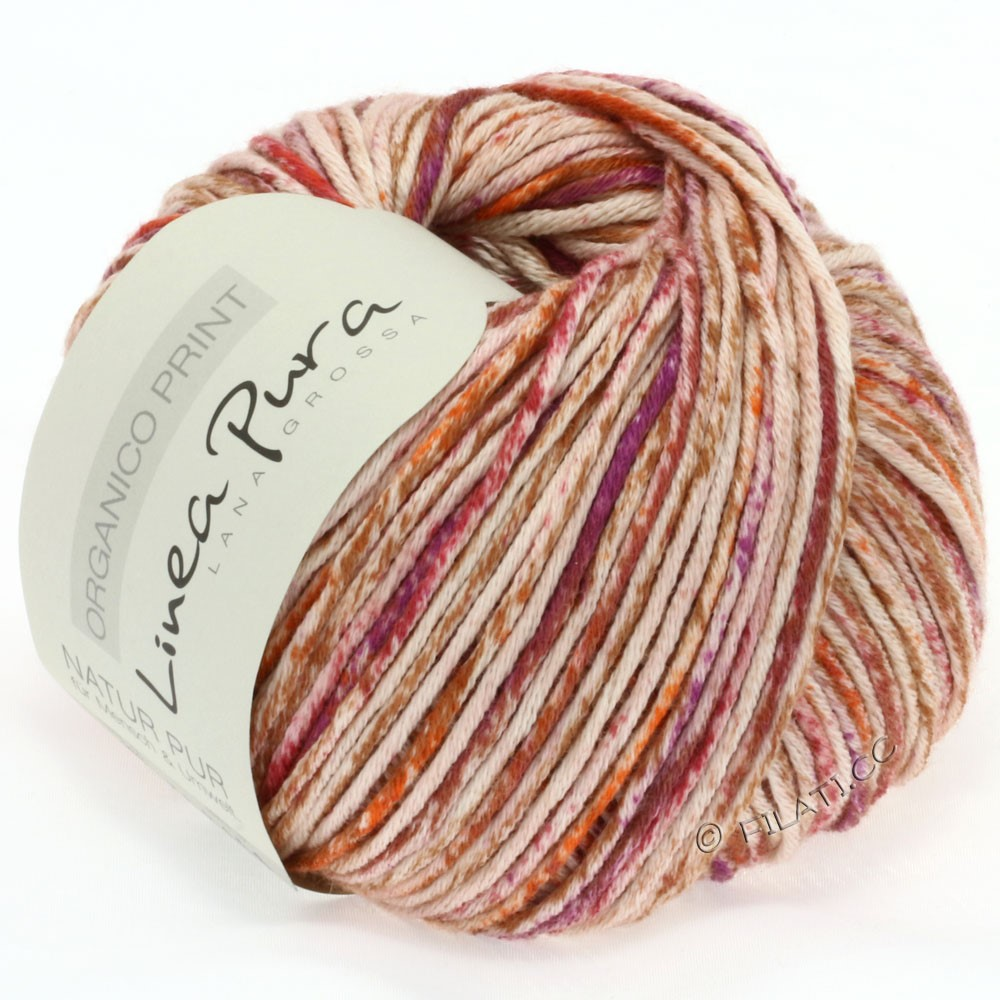 Lana Grossa ORGANICO Print (Linea Pura) | 203-natural/orange/red brown