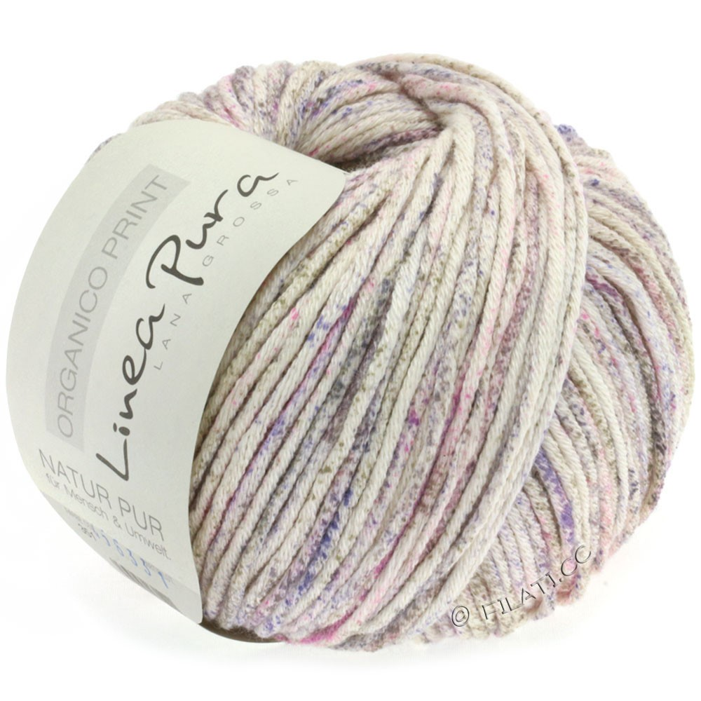 Lana Grossa ORGANICO Print (Linea Pura) | 351-natural/pink/lavender/gray brown