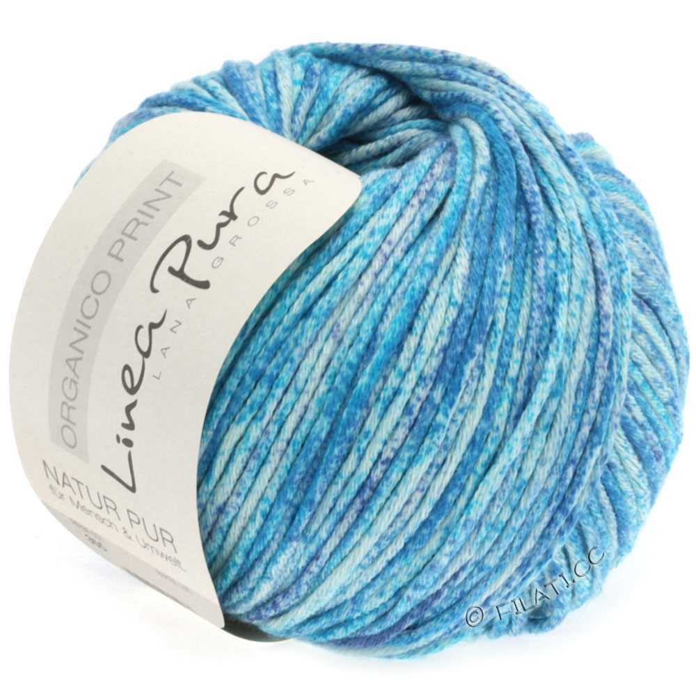 Lana Grossa ORGANICO Print (Linea Pura) | 355-natural/turquoise/azure blue