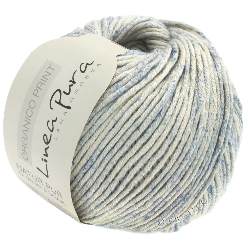 Lana Grossa ORGANICO Print (Linea Pura) | 410-natural/pale blue
