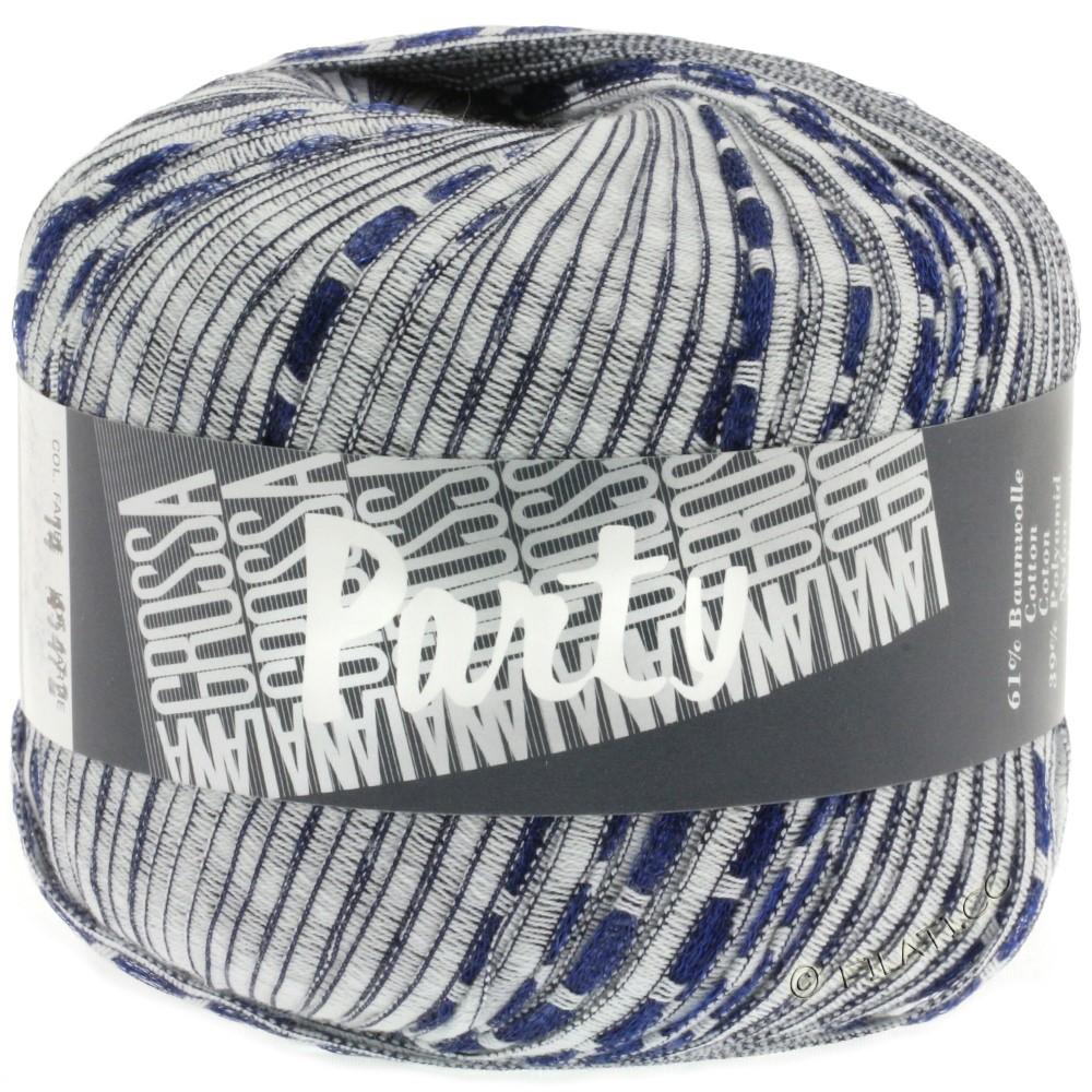 Lana Grossa PARTY Uni/Print | 14-white/dark blue