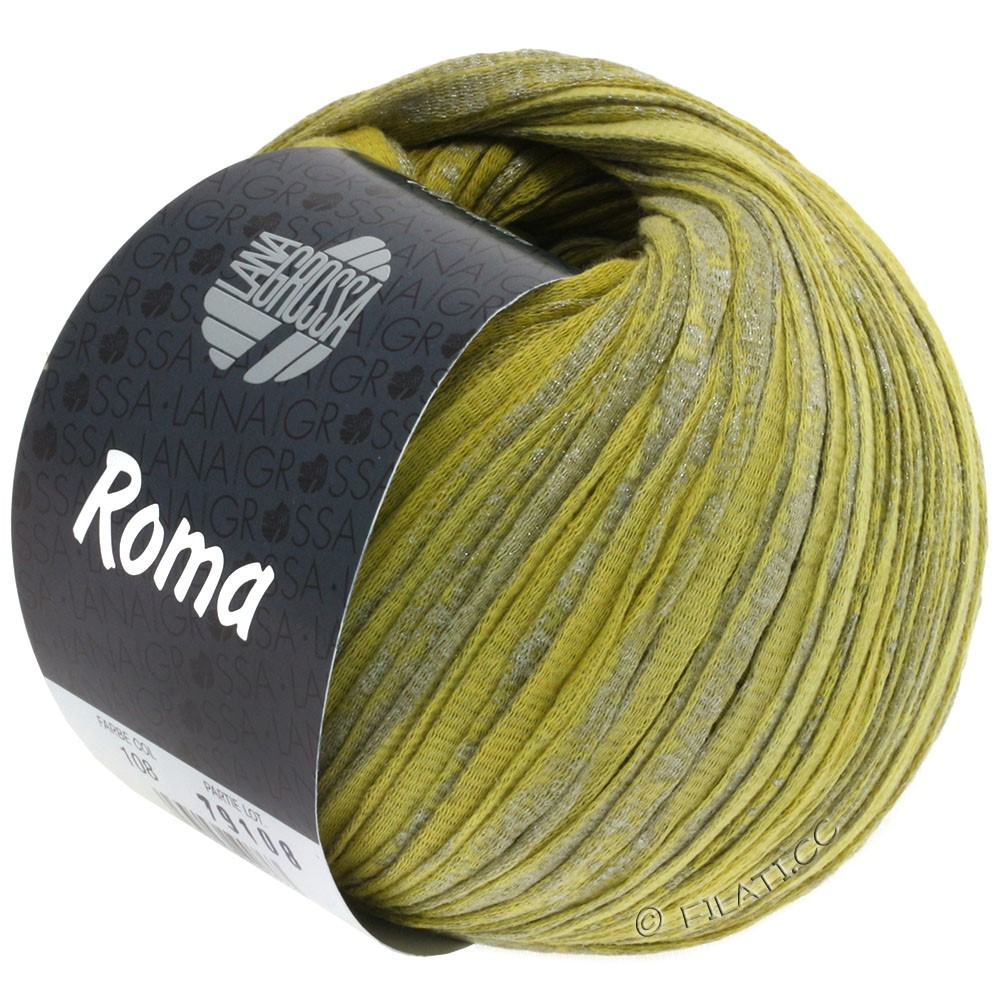Lana Grossa ROMA | 108-lime/mustard yellow/silver