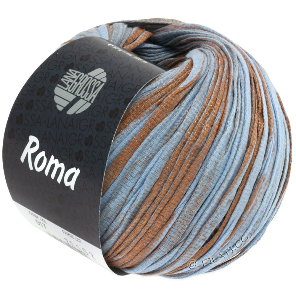 Lana Grossa ROMA/ROMA Degradè | 017-light blue/copper/silver