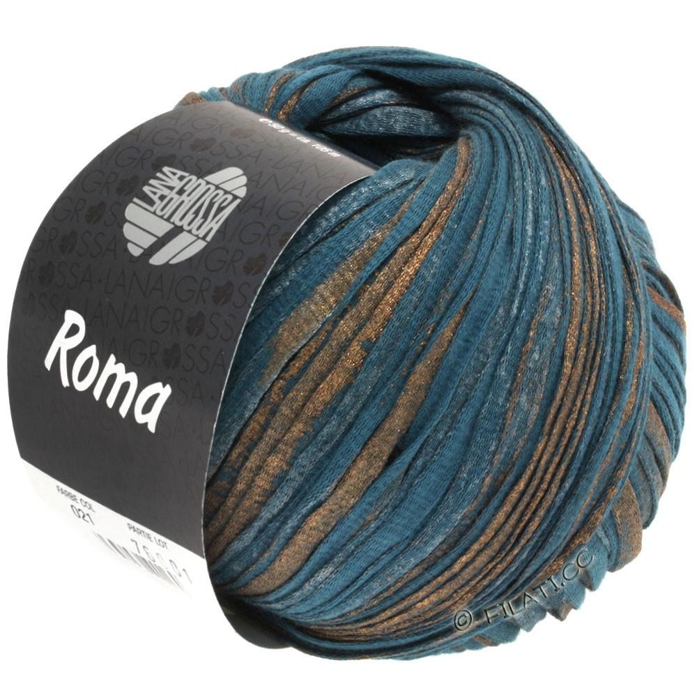 Lana Grossa ROMA | 021-petrol blue/copper/silber