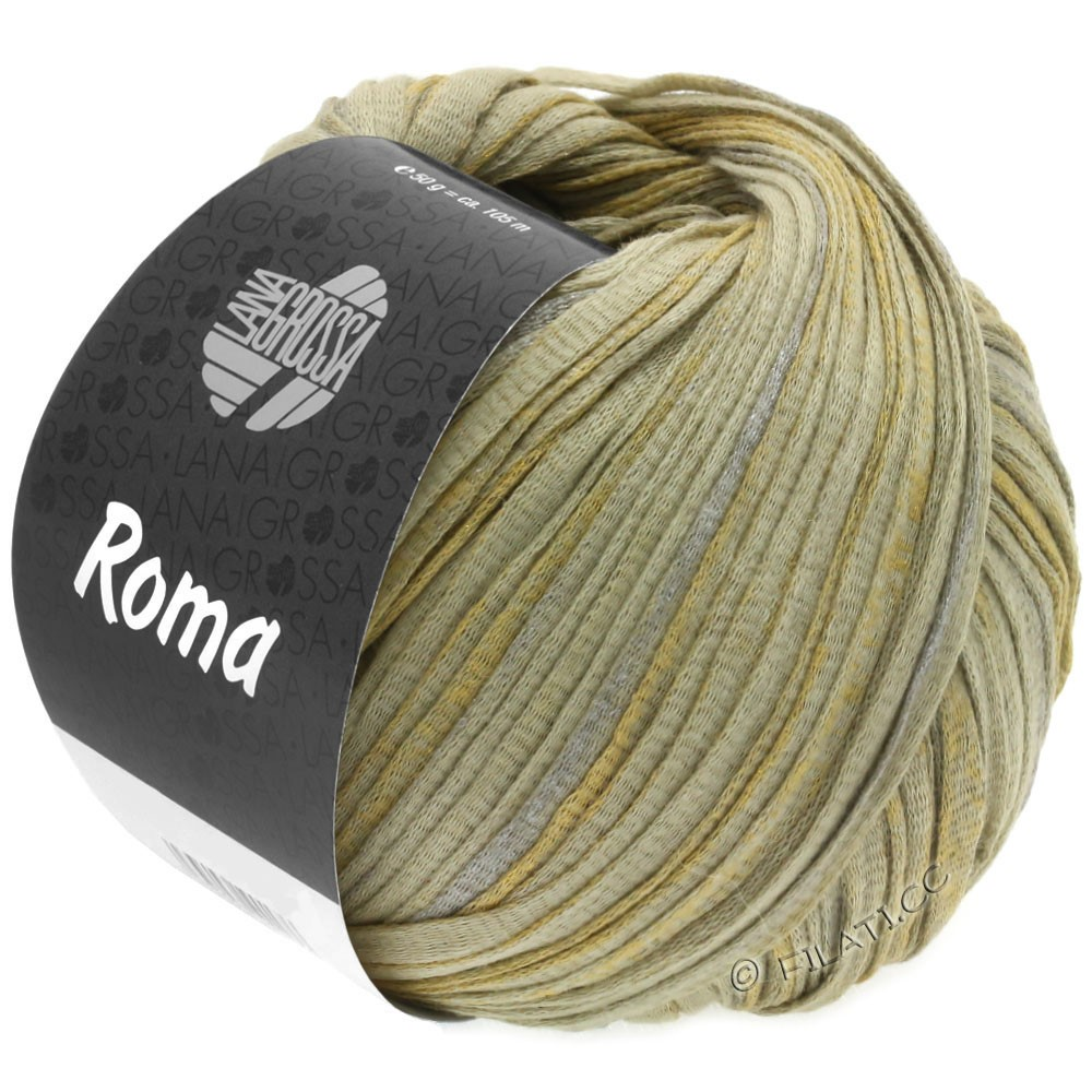 Lana Grossa ROMA | 028-green beige/silver/gold