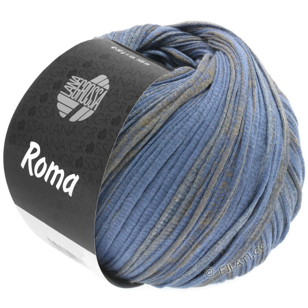 Lana Grossa ROMA | 032-violet blue/golden/silver