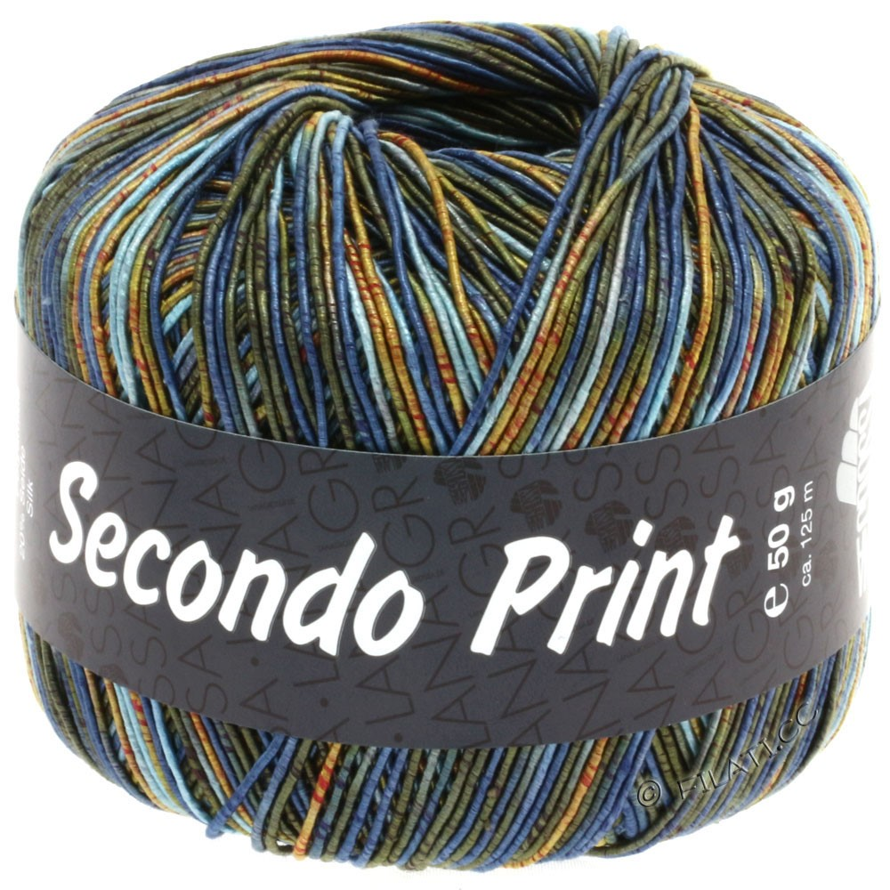 Lana Grossa SECONDO Print II | 504-light blue/jeans/orange/dark olive/gold
