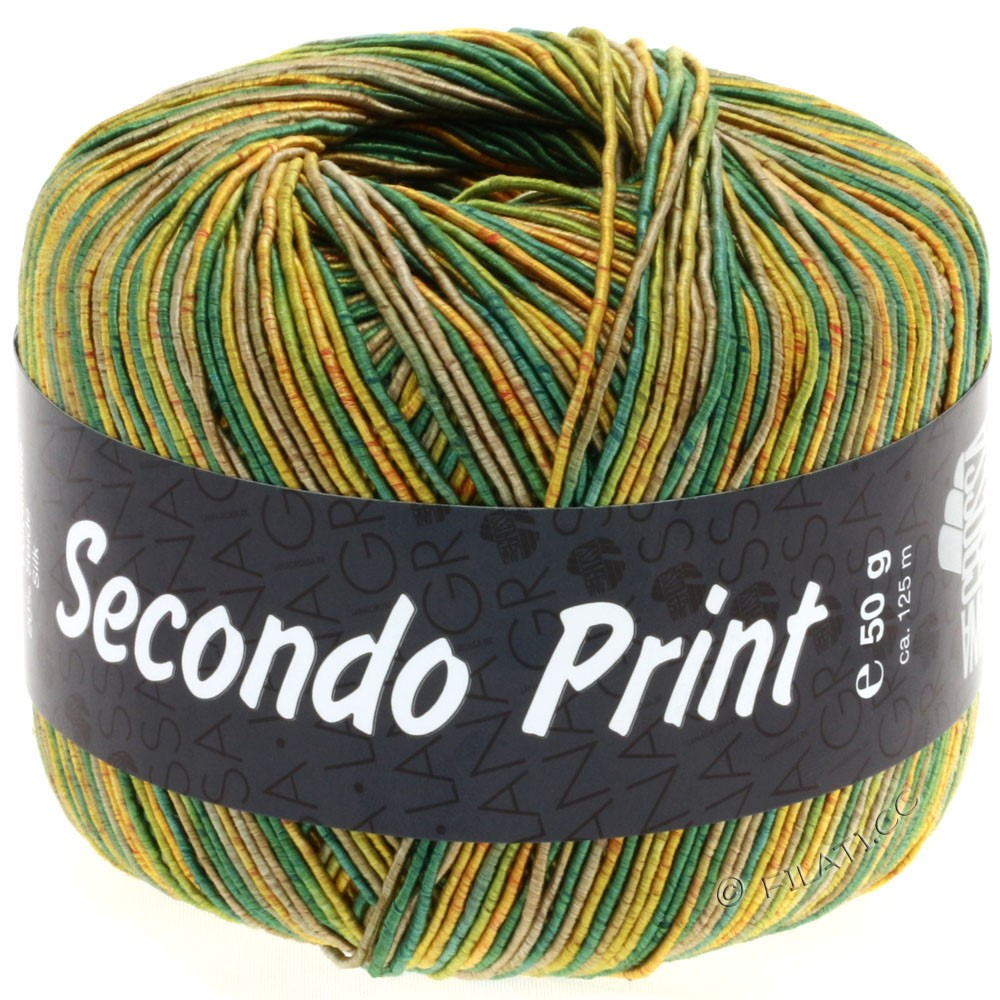 Lana Grossa SECONDO Print II | 508-golden yellow/green/reed/olive