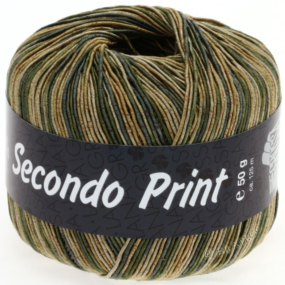 Lana Grossa SECONDO Print II | 509-gold/gray green/beige