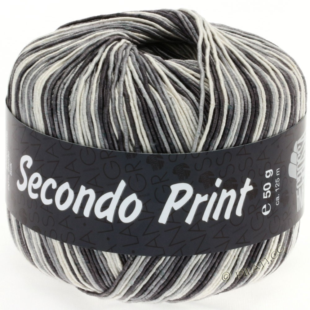 Lana Grossa SECONDO Print II | 510-ecru/gray/anthracite