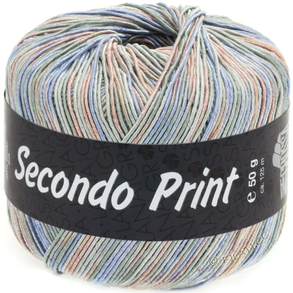 Lana Grossa SECONDO Print II | 511-light gray/jeans/rose/gray green