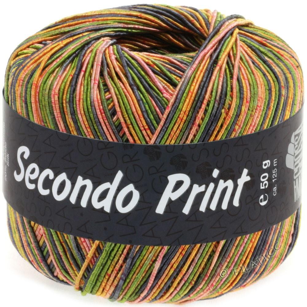 Lana Grossa SECONDO Print II | 513-olive/gray blue/orange/golden yellow