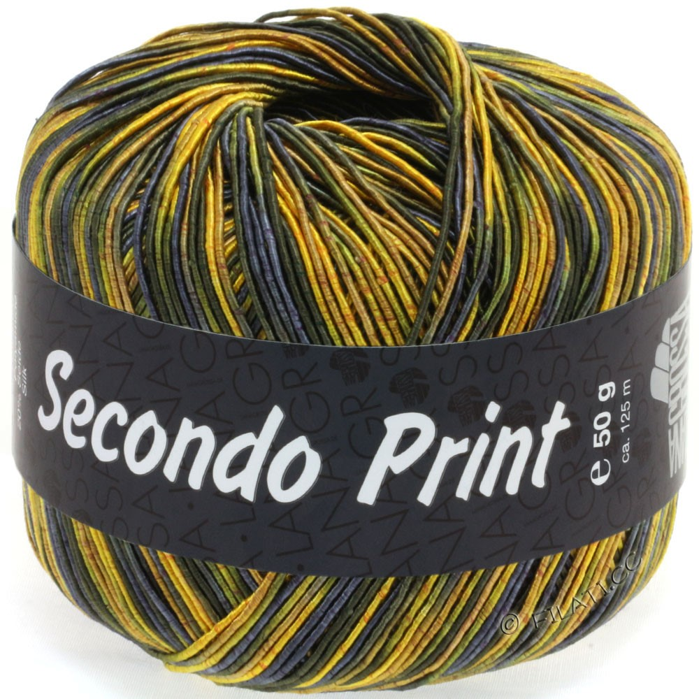 Lana Grossa SECONDO Print II | 514-yellow/dark olive/midnight blue